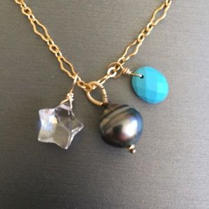 Tahitian pearl turquoise gemstone charm necklace